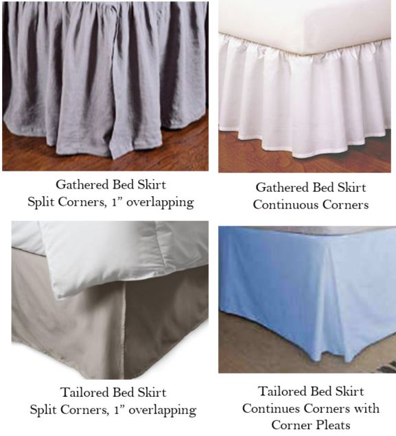 bed skirt split corners, continuous corners, pleated corners