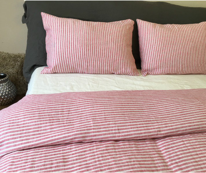 Striped Duvet Cover, Handmade in Natural Linen   Superior Custom