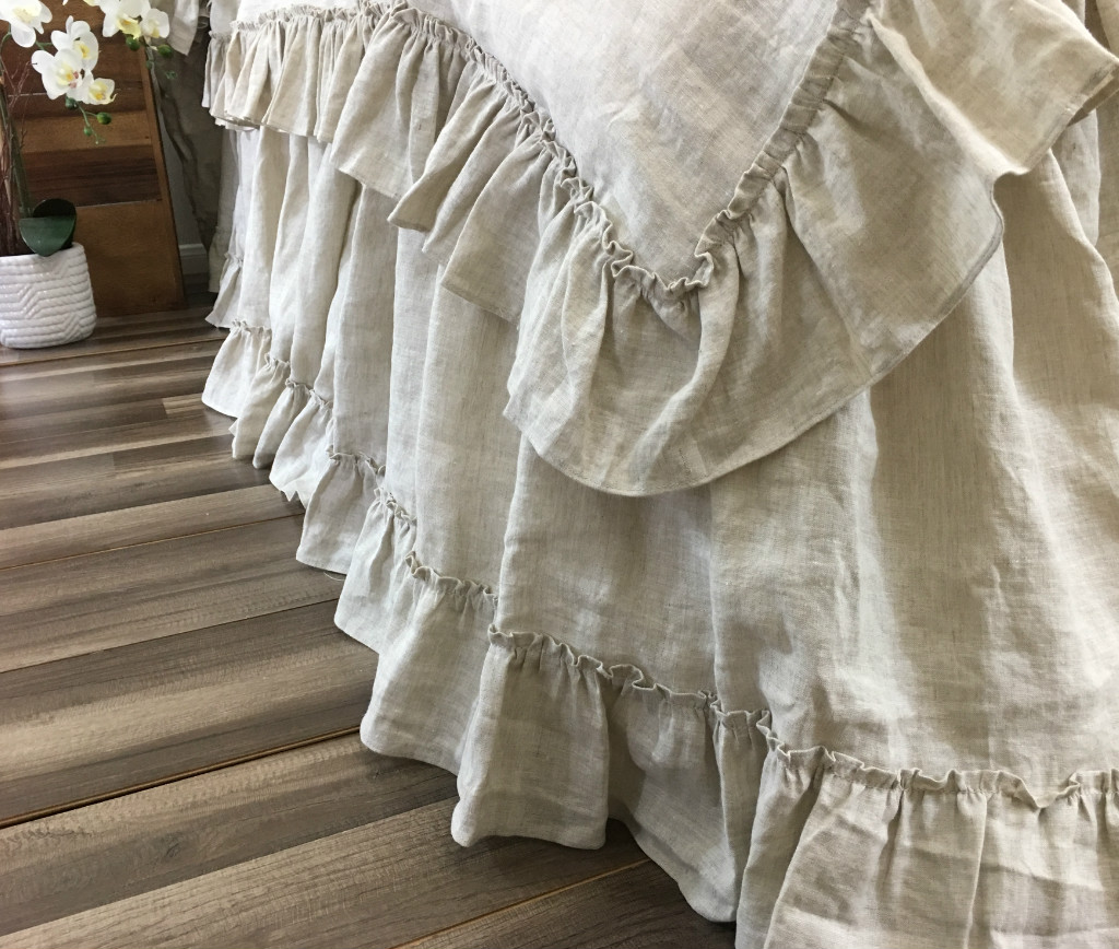 Linen Bed Skirt with Country Ruffle Hem