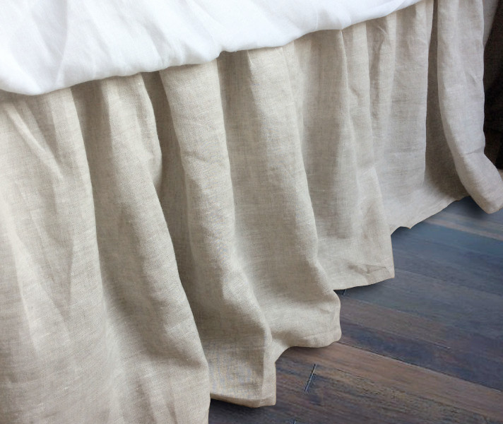 linen bed skirt gathered ruffle