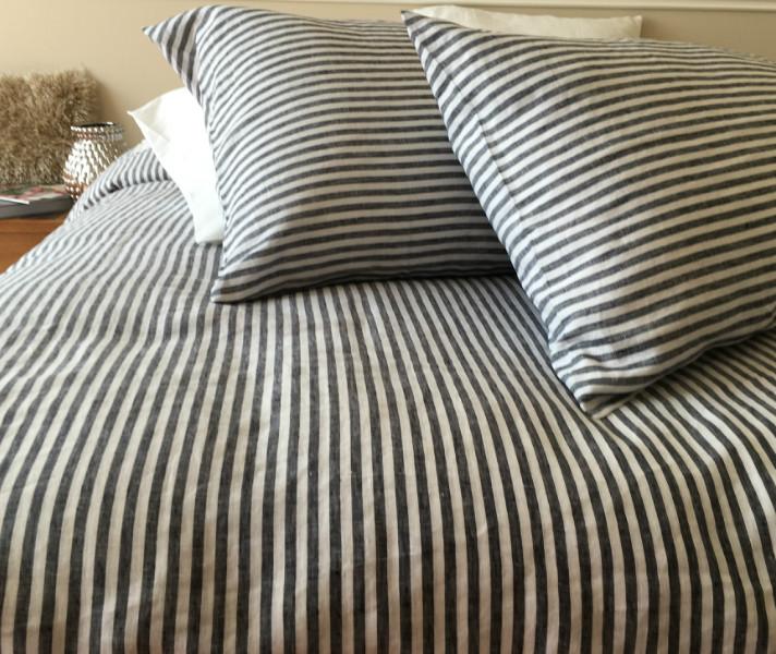 Striped Duvet Cover Handmade In, Black Ticking Stripe Bedding
